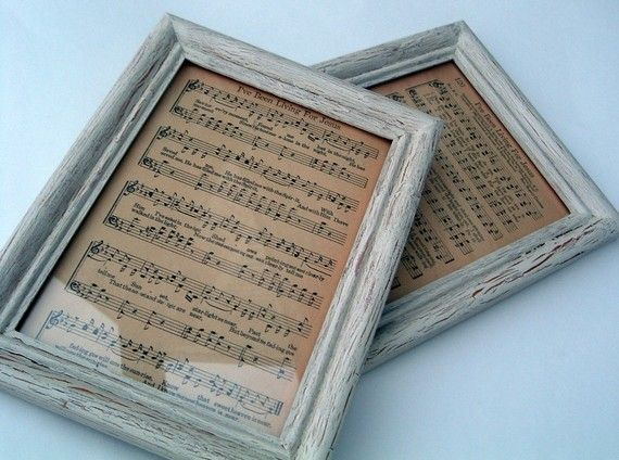 Framed music sheets...I'm sure I could find a home for these in the guest room.