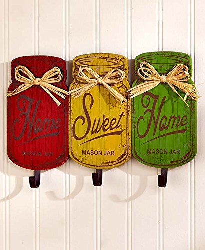 Wooden Red Yellow Green Rustic Home Sweet Home Metal Hooks Rack Utensil Holder Towel Hanger Wall Hanging Plaque Primitive Mason Jar Tuscan French Country Kitchen Decor KNL Store http://www.amazon.com/dp/B01BTVKYHC/ref=cm_sw_r_pi_dp_7DA4wb1AK7TWW