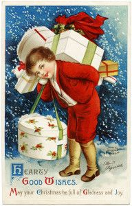 Ellen Clapsaddle Christmas postcard, Victorian boy carrying gifts, boy in red Christmas card, vintage christmas clip art, old fashioned holiday printable