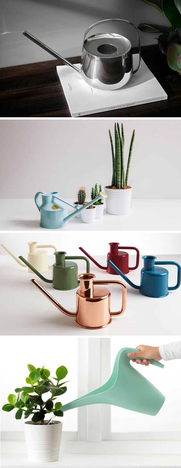 These modern watering cans are perfect for watering the plants in your garden or in the house.
