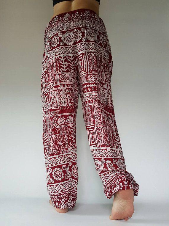 Thai Genie Pants Comfy Trouser, Gypsy Pants Rayon Pants,Aladdin Pants Maxi Pants Boho Pants