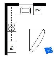 L shaped kitchen with a triangular island.