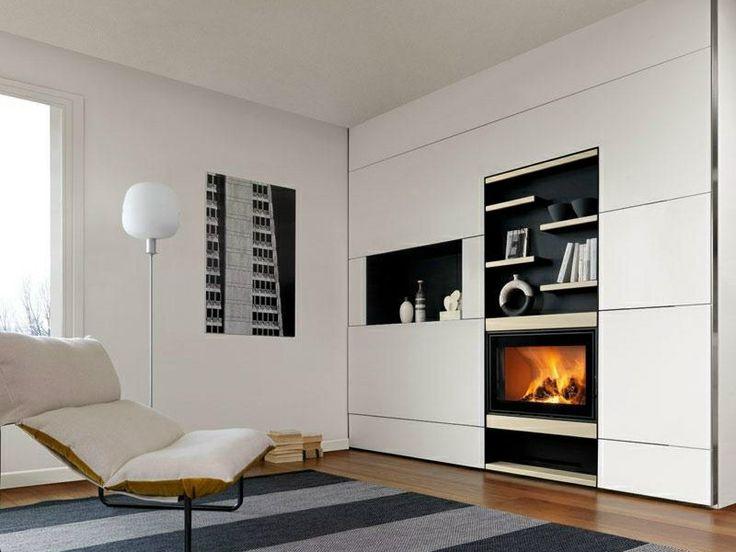 salones con chimenea modernos alfombra rayas ideas