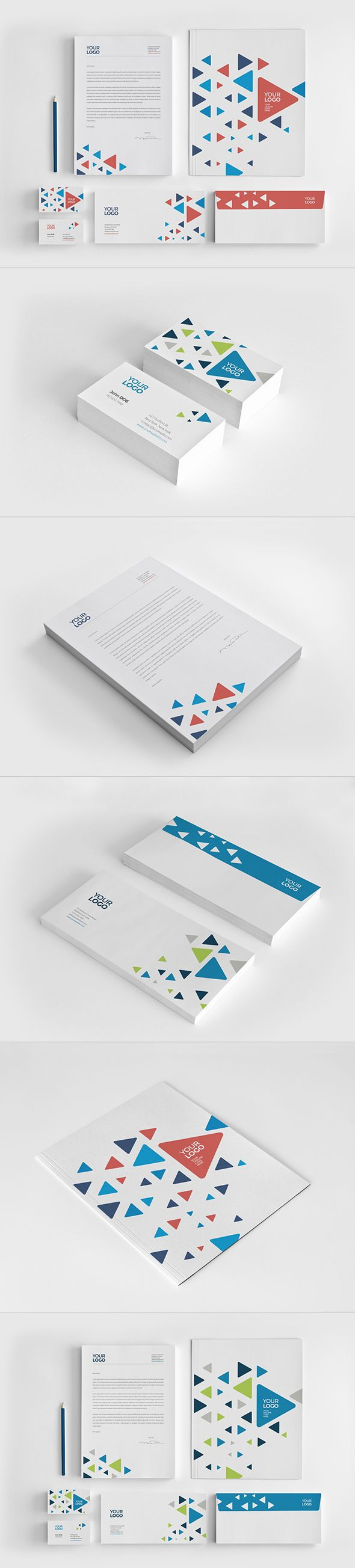 Cool Triangles Stationery. Download here: http://graphicriver.net/item/cool-triangles-stationery/12089930?ref=abradesign #stationery #design #pattern