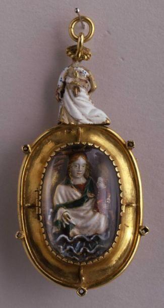 Orafo francese (Francia meridionale ?)  Medaglione-reliquiario con l'immagine della Vergine col Bambino e figura di angelo
