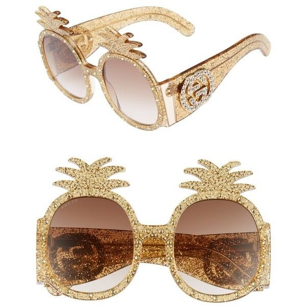 Women's Gucci 53Mm Pineapple Sunglasses (1,560 CAD) ❤ liked on Polyvore featuring accessories, eyewear, sunglasses, gold, pineapple sunglasses, pineapple glasses, beach sunglasses, gold sunglasses and gucci sunglasses