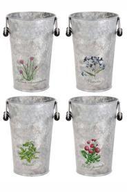 Găletuşe de metal cu temă florală. DecoDepot. Brasov. Buckets. Floral. Garden. Tools.