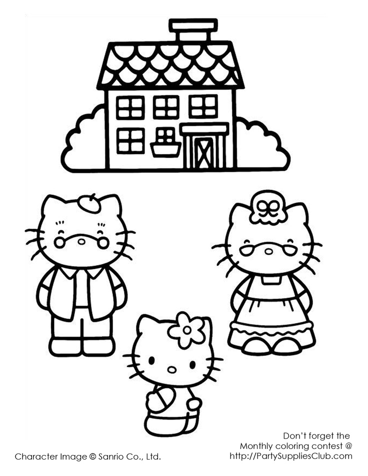 Hello Kitty grandma and grandpa Kids' Coloring Pages