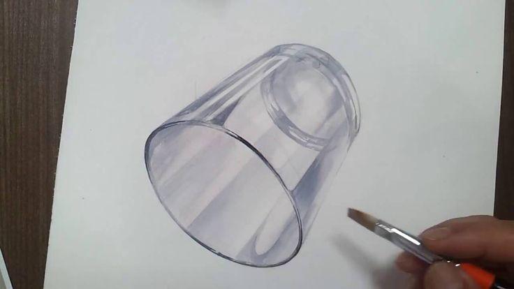 기초디자인 유리컵 채색1/2 realistic art  glass cup drawing