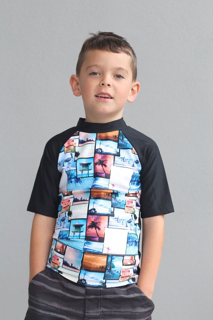 Boys swimsuit short sleeve Rash Vest with sublimated with surf / beach design. by LaLaLaDesigns on Etsy