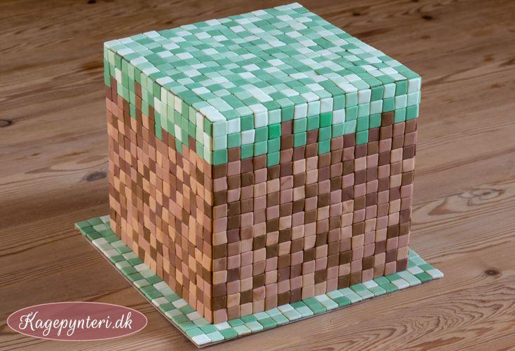 Minecraft kage med tern lavet i fondant