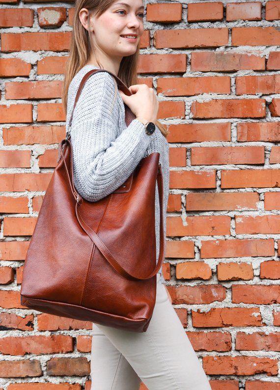 6e700bbcbe Cognac Brown OVERSIZE SHOPPER Bag - XXL Tote Bag Woman - Large Crossbody  Purse - Big