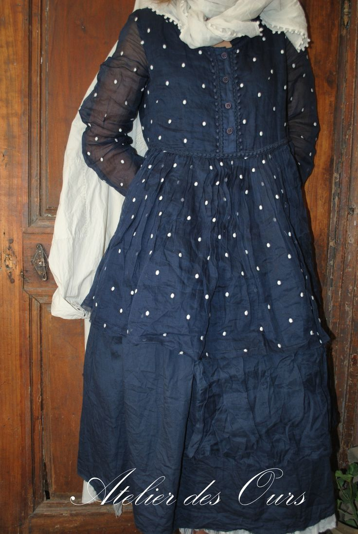 French Country Clothing Part - 36: MLLE PLUMETIS : Robe Bleu Nuit Coton Et Organdi EWA IWALLA, Veste Rayée Les  Ours. French ClothingBohemian ...