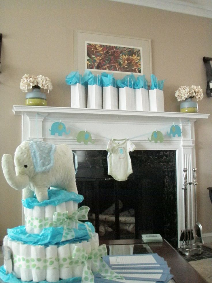 Blue and green elephant baby shower decorations elephant for Baby shower decoration ideas pinterest