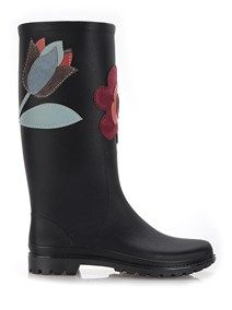 RED VALENTINO Rain boots with suede flowers