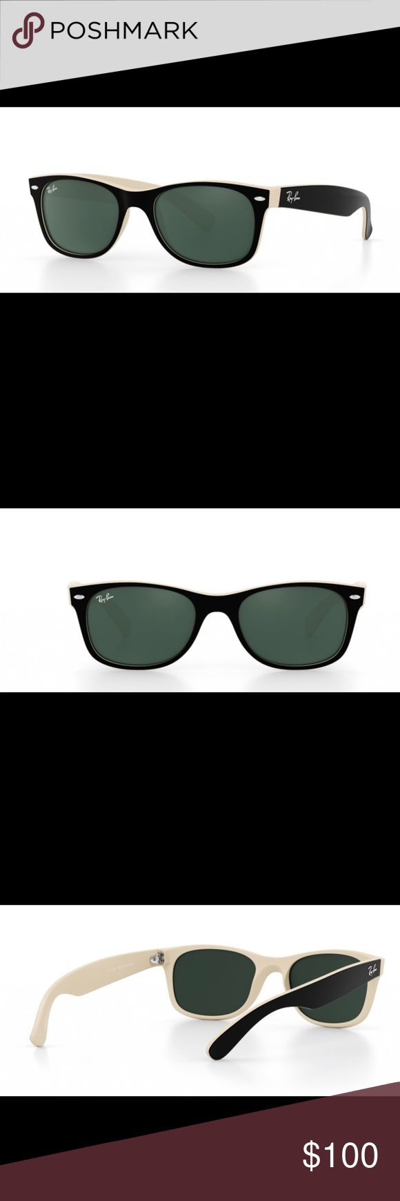 Customized new wayfarer ray bans Off white detailing interior, black glossy outside. Not polarized. New with minimal scratches. OPEN TO REASONABLE OFFERS Ray-Ban Accessories Sunglasses