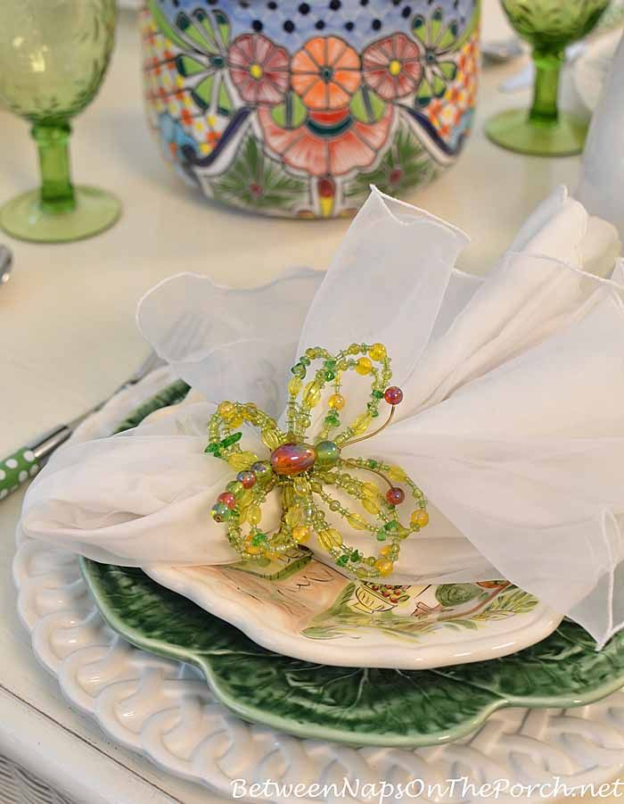 Beaded Butterfly Napkin Rings | Between Naps on the Porch