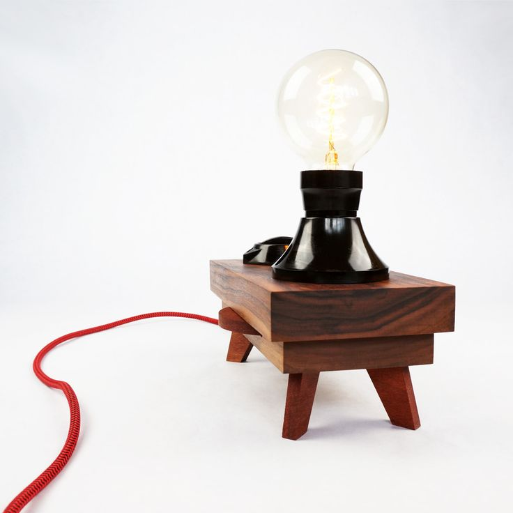 Lamp 'Turn Switch' | 'Vintage look' table lamp made with original bakelite parts and oiled walnut base. The horizontal disc at the side of the lamp controls the build-in dimmer and the G80 Edison bulb gives warm atmospheric light.  |      #industrialdesign #design #deco #light #lighting #lamp #tablelamp #edison #woodwork #wood #handmade #handcrafted #unique #exclusive #vintage #filament #hip #authentic #woodworking #minimalist #minimalism #upcycling #bakelite #walnut