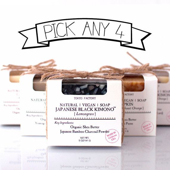 Pick Any 4 Soaps  FLAT RATE SHIPPING  Vegan Soap by TOKYOFACTORY, $30.00