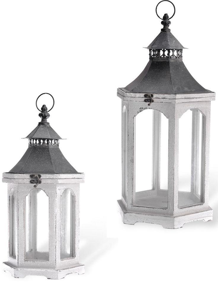 Reese Distressed Wooden Outdoor Hanging Lantern