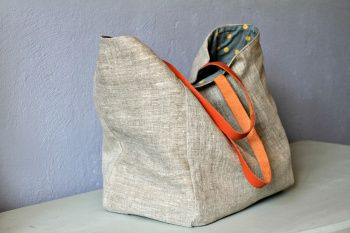 A large natural linen tote