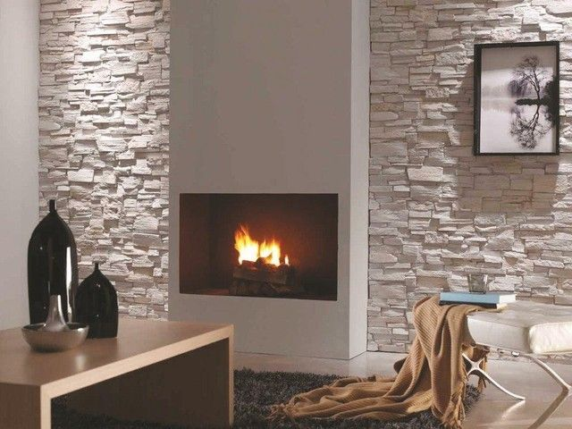 Painted Brick Outdoor Fireplace Polyurethane Cladding