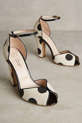Black and white polka dot shoes
