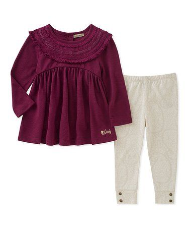 Purple Ruffle Tunic & Cream Leggings - Infant, Toddler & Girls