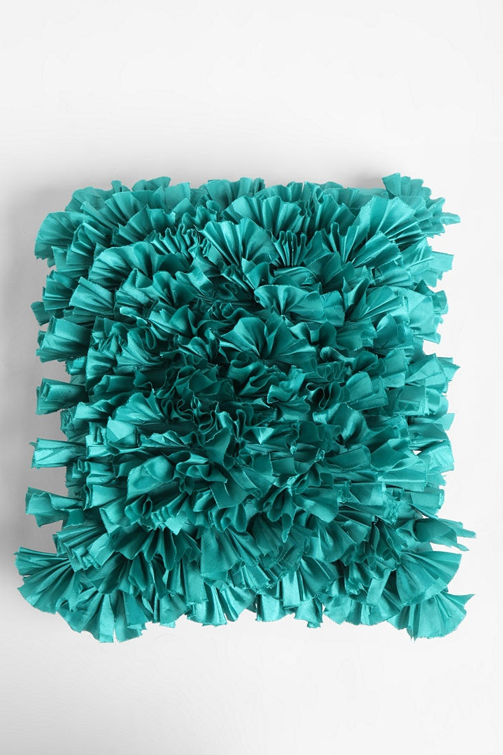 Teal fluffy ruffle pillow teal pillows fluffy ruffle color accent