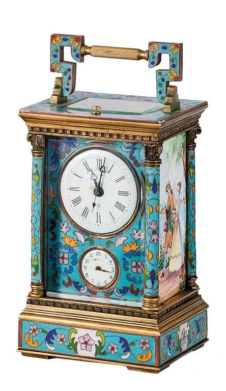 A champleve enamel and gilt bronze repeating carriage clock, French, 19th Century