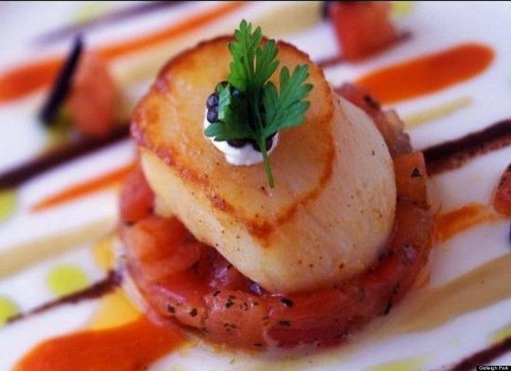 scallop w/ caviar, watermelon salsa