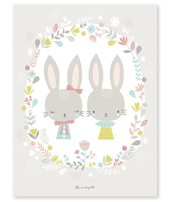 Affiche bébé enfant lapins - Flora Waycott / Lilipinso twin bunnies poster