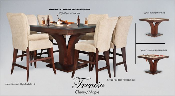 "Available with optional Treviso Flexback High Club Chairs or Treviso Flexback Armless Stools at seat height of 26"".Size 48"" and 54"" square  Available with optional bumper pool table. At http://gameroomfurnitureetc.com/pokertables.asp"