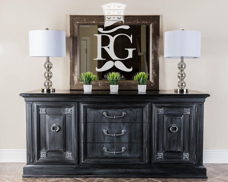 One of my new finishes i call castle black credenza for Dark grey furniture paint