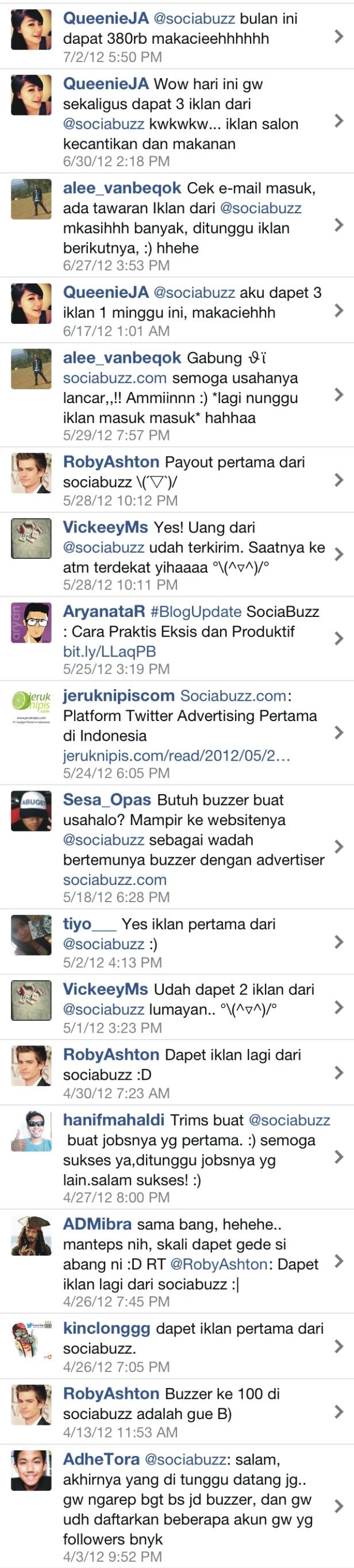 Testimonials from Buzzers for www.sociabuzz.com