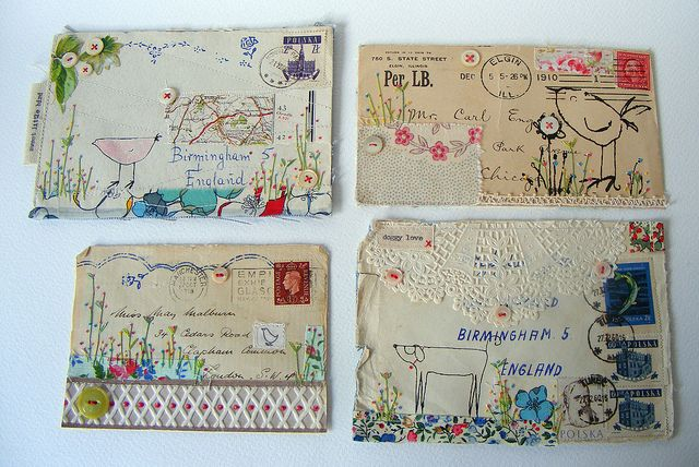 Mixed media (textiles, embroidery & antique envelopes) by hens teeth (original art work, via Flickr.) I cannot tell you how exquisite her work is in person and I am very lucky to own some.