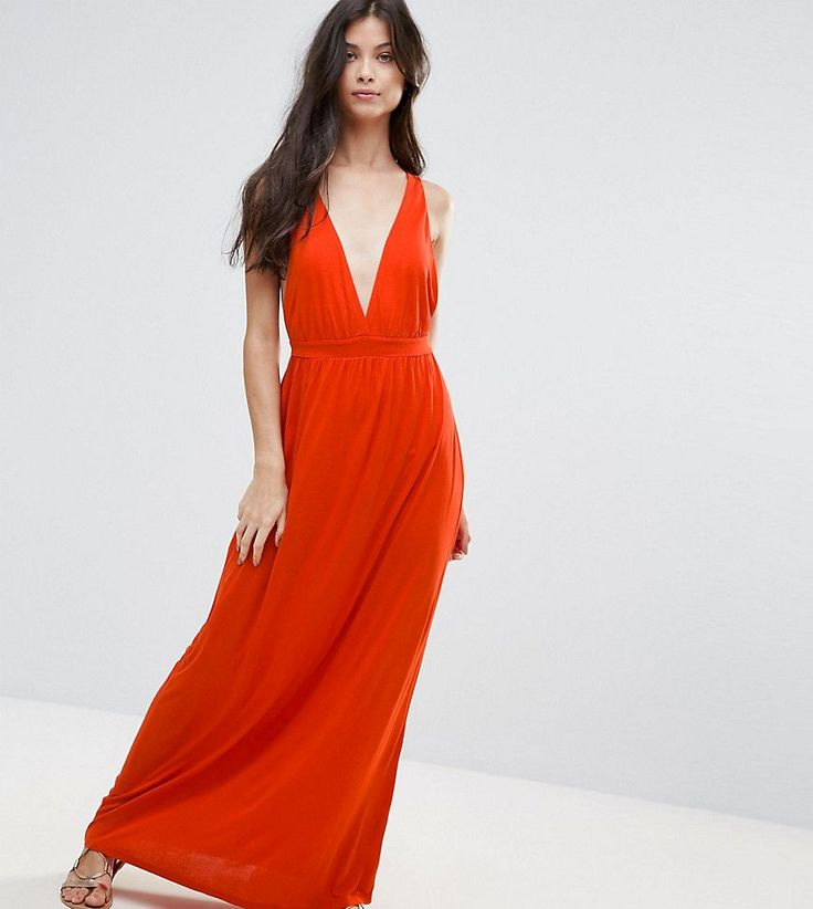 ASOS PETITE Cross Back Jersey Maxi Beach Dress - Orange