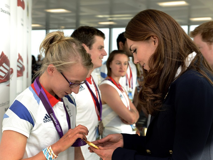 Duchess of Cambridge speaks with Gold medal winning rower Katherine Copeland at Team GB House in the Westfield Centre on Day 13 of the London 2012 Olympic Games on August 9, 2012 in London, England.