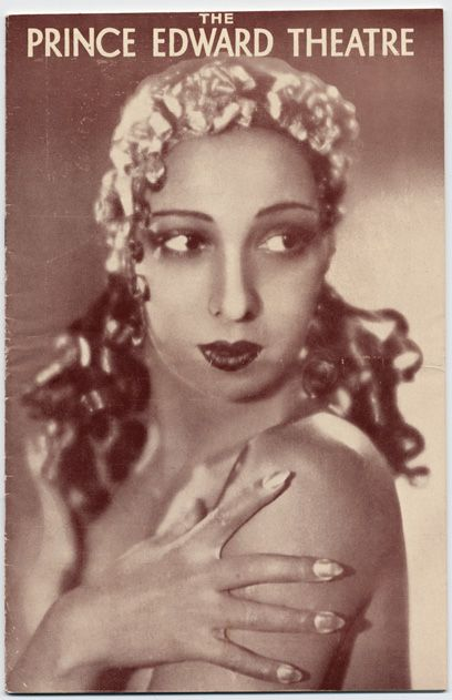 Josephine Baker.  Printed programme for Prince Edward Theatre, 1933.This programme is for the first appearance of La Baker on the London stage.