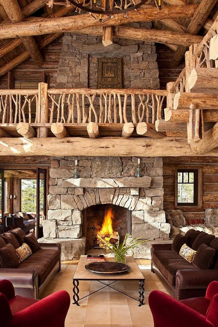 Cabin bedroom fireplace - National Park Inspired Log Home With Two Story Soaring Fireplace Twig Bannister So Rustic And Magestic Future Cabin Idea