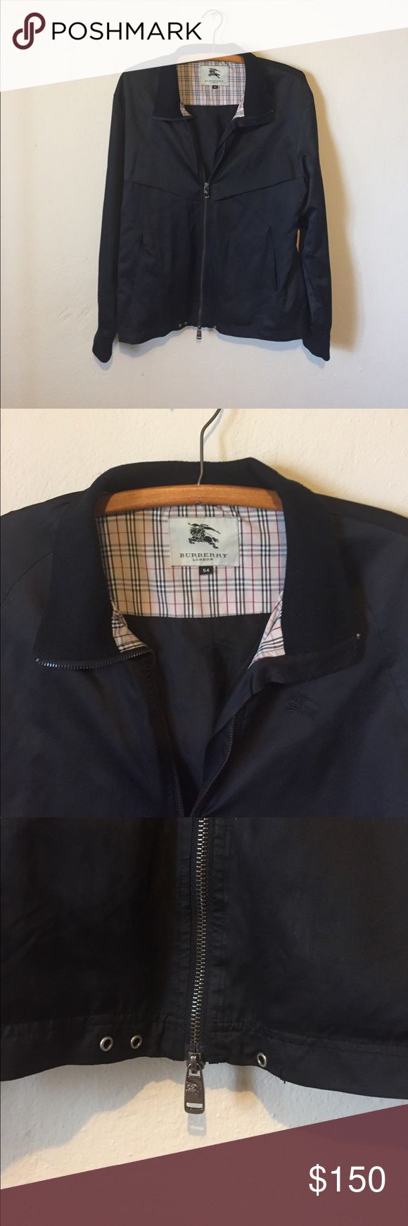 Men's Burberry bomber jacket Excellent condition. Men's size 54 (U.S size 44 L/XL)nylon bomber jacket. Minor flaw at bottom, missing small silver ring(shown) and elastic string that threads through(easily replaceable) Burberry Jackets & Coats Bomber & Varsity