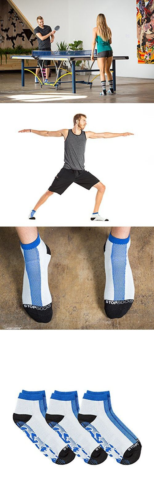 Stopsocks: Hospital Socks + Yoga, Traction, Gym, Tread Non Skid, Anti Slip Socks - Megaformer + The Perfect Running Sock;3Pack;Blue, Large