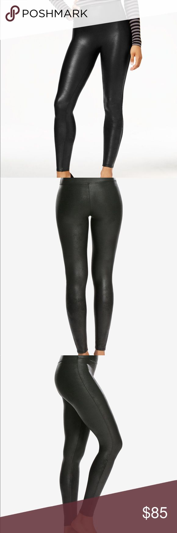 """SPANX's faux-leather fashion leggings The liquid look of SPANX's faux-leather fashion leggings are a favorite for casual days and nights out.       Approx. inseam: 29""""     Pull-on style     The slim's built in— shaping waistband with hidden power mesh     Wear these fashion forward pants with anything—easy to dress up or down     A more structured fit and pant-like feel     XS (0-2), S (2-4), M (6-8), L (10 -12), XL (14-16), 1X (18-20), 2X (20-22), 3X (-24)     Nylon/spandex; waist lining…"""