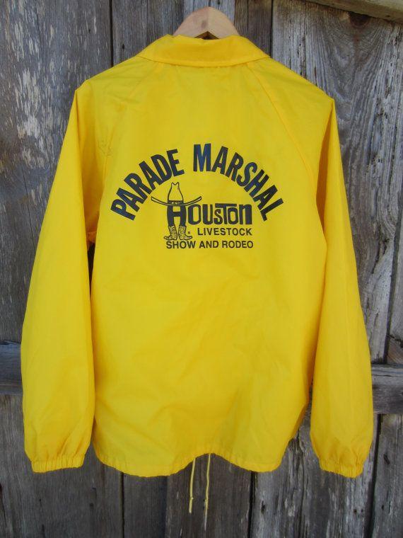 80s Crazy Yellow Houston Livestock Show and Rodeo Windbreaker Jacket by Auburn Sportswear, Men's L // 80s Nylon Jacket