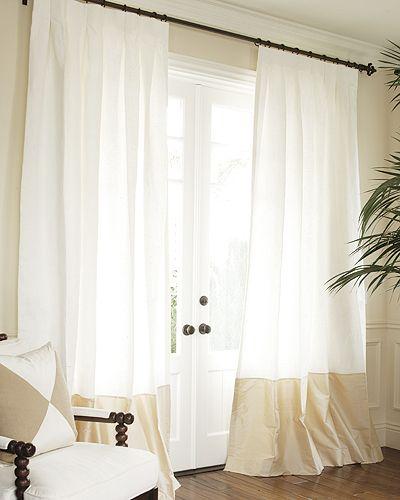 Silk Bordered Classic Linen Custom Drapery