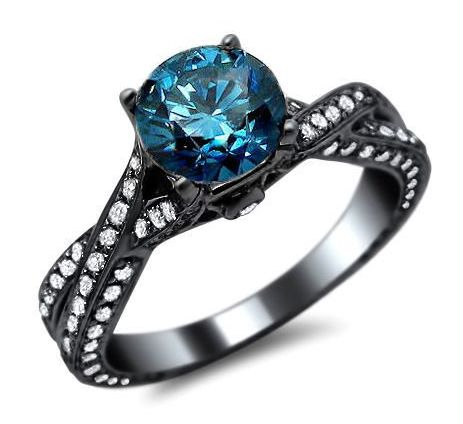 1.72ct Blue Round Diamond Pave Engagement Ring 14k #Black #Gold With a 0.65ct Center Diamond and 1.07ct of Surrounding Diamonds  $2,040.00