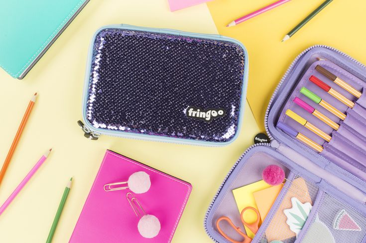Sequin pencil case for girls. Unique, mermaid scale accessory. Amazing back to school gift for kids.