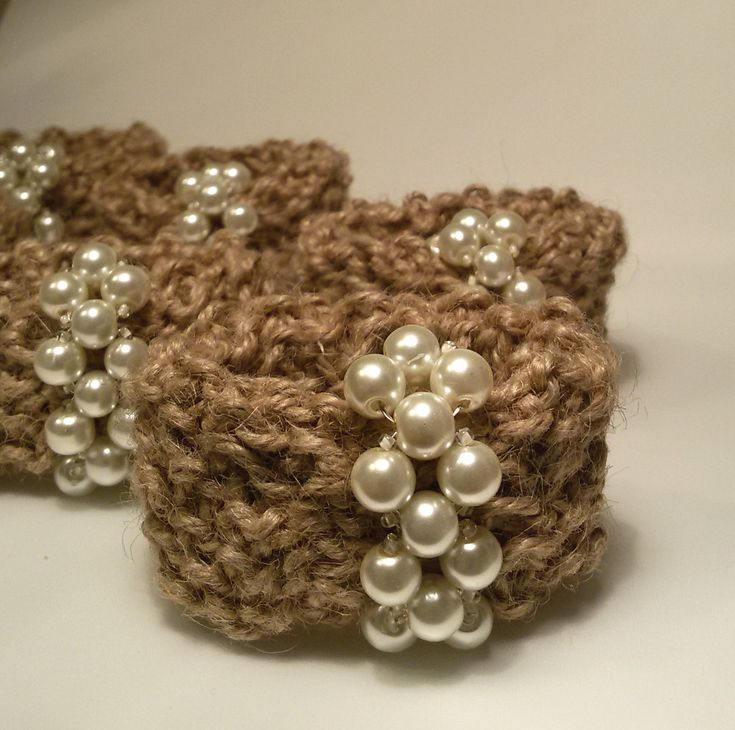 Wedding Napkin Rings Hemp Napkin Rings Crochet Napkin by Umis