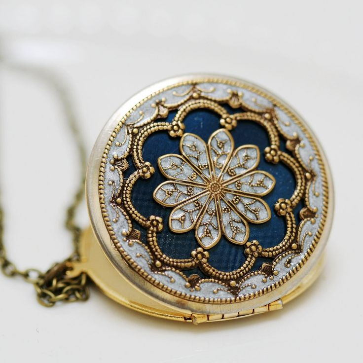 Locket,blue locket,filigree locket ,resin locket,Bridal Necklace ,bridesmaid gift ,Wedding Necklace,Something Blue,Vintage Locket., via Etsy.