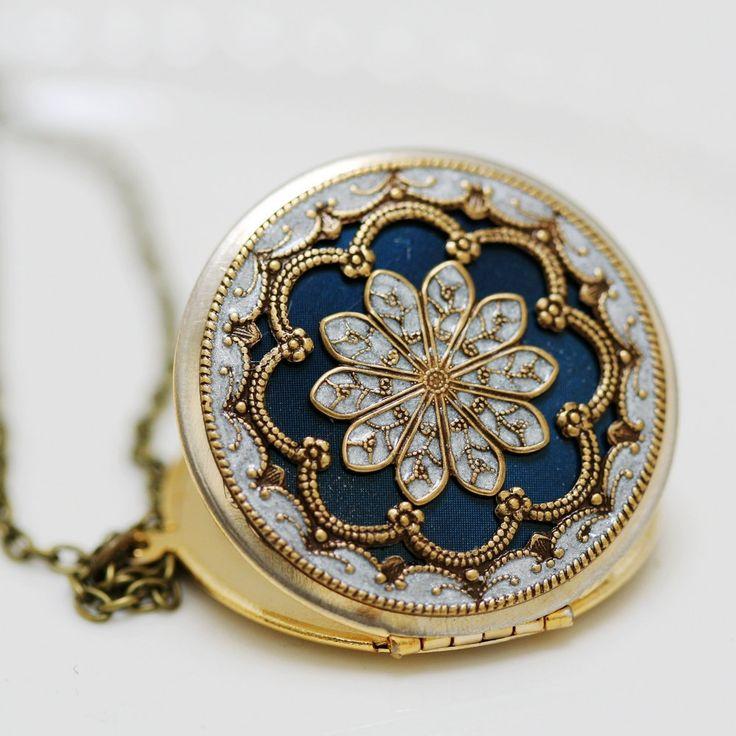 Locket,blue locket,filigree locket ,resin locket,Bridal Necklace ,bridesmaid gift ,Wedding Necklace,Something Blue,Vintage Locket., via Etsy.